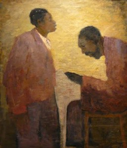 Reading to a young man of Josef Nassy