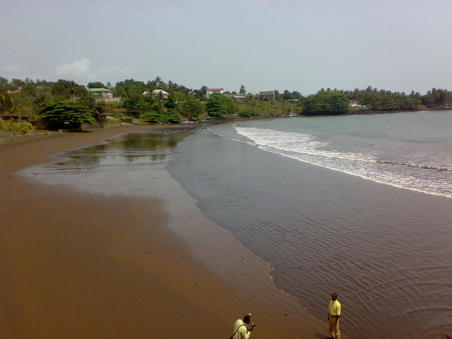 Black volcanic sand Limbe - beach Cameroun