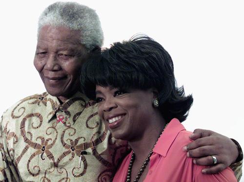 OPRAH WINFREY WITH FORMER SOUTH AFRICA PRESIDENT NELSON MANDELA
