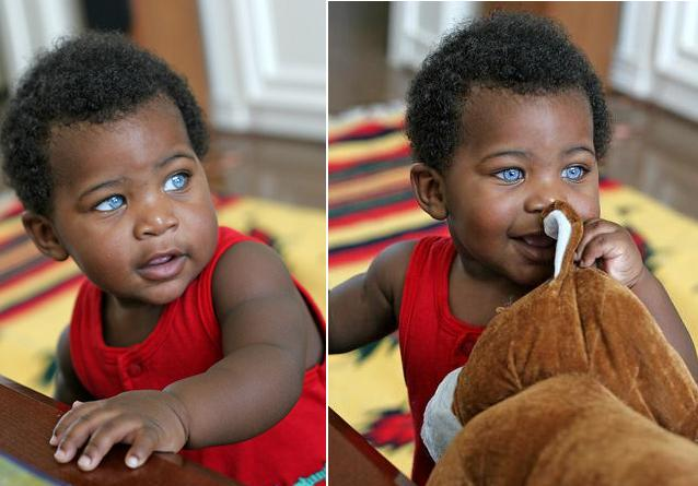 Black Baby Boy With Blue Eyes