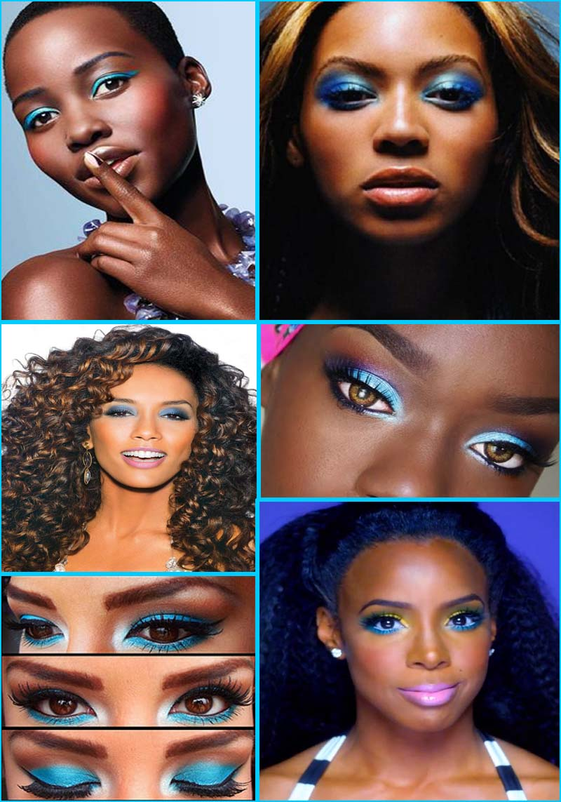 Black skin with blue make up , blue eyeshadow