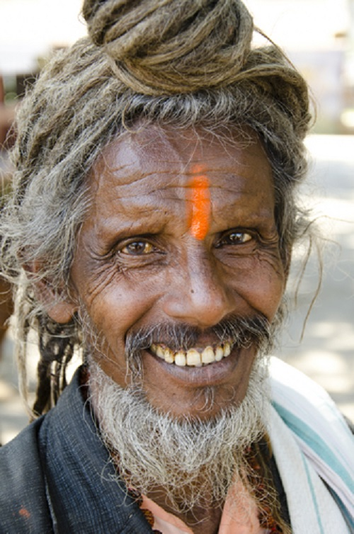 Portrait of an elderly sadhu Indian man with a bindi and dreadlocks.