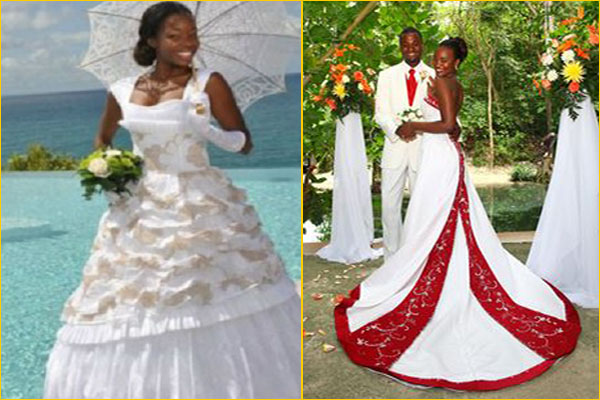 robes de mariée antillaises et caribéennes traditionnelles , Madras Wedding  Dress