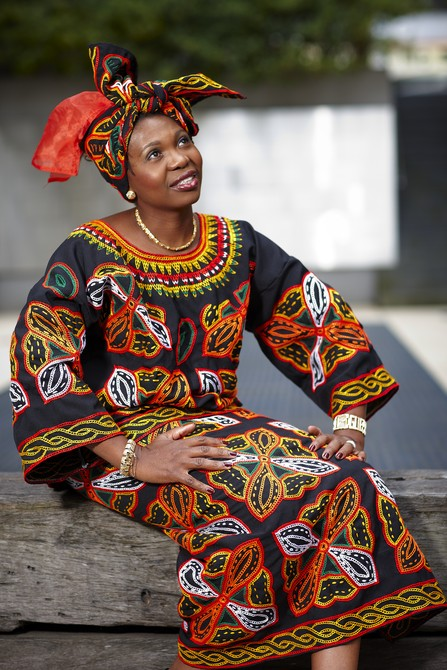 Doris Imalenowa in traditional African dress.