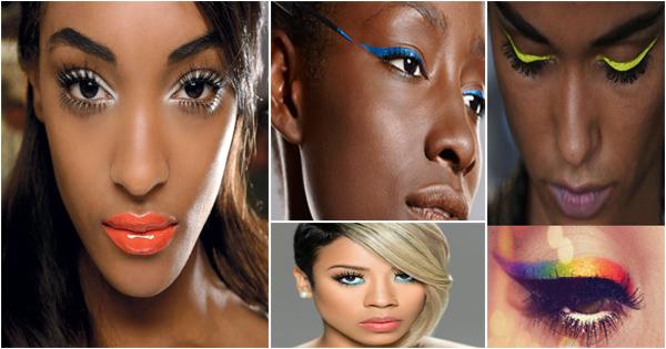 Eyeliner coloré peau noire et métisse.