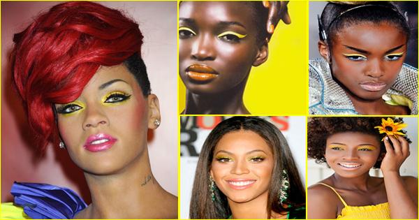 Maquillage jaune pour les yeux – peau noire et métisse.