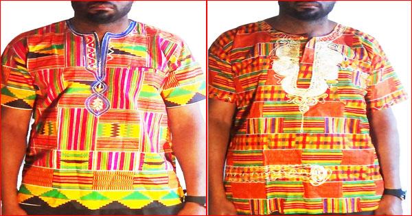 T-shirts kente ou kita pour hommes et femmes. Mode traditionnelle.