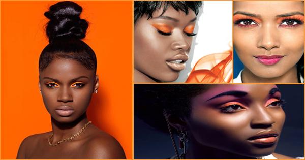 Maquillage orange pour les yeux – peau noire et métisse.