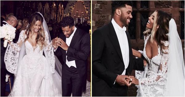 Mariage de stars : la chanteuse Ciara et le footballeur américain Russel Wilson.