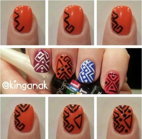 c46676c9500e7f94a4ef52c8132d5e19 tuto-nail-art-tribal - Tribal Nail Art: An Original Tribal Manicure – Afroculture.net