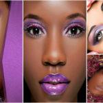 Maquillage violet pour les yeux – peau noire et métisse.