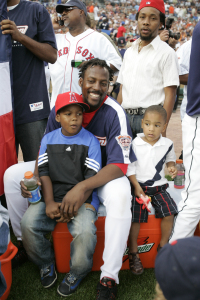 DETROIT - JULY 11: Vladimir Guerrero of the Anaheim Angels is pictured with his family during the CENTURY 21 Home Run Derby at Comerica Park on July 11, 2005 in Detroit, Michigan. (Photo by Rich Pilling /MLB Photos via Getty Images)