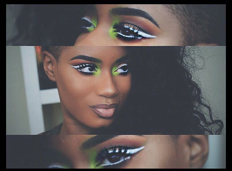 white-eyeliner-with-green-inner-shade-makeup-for-black-women
