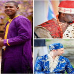 African Wedding: married couples in traditional outfits