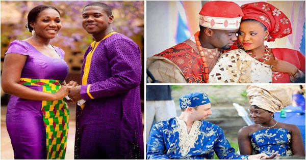 mariage africain couples mari s en tenue traditionnelle. Black Bedroom Furniture Sets. Home Design Ideas