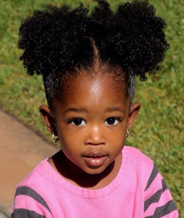 Afro Puffs And Double Buns Hairstyles For Little Black Girls