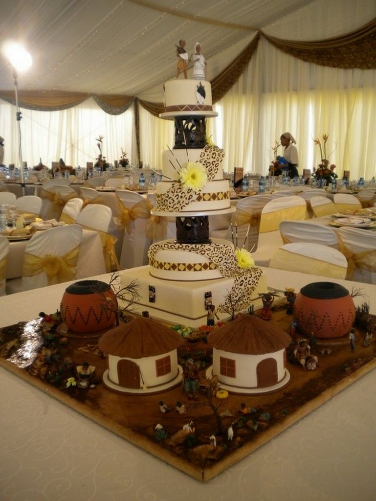 african,inspired,wedding,cakes,huts