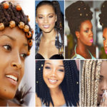 Tresses africaines avec perles ou coquillages.