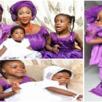 Mercy Johnson and her family in traditional purple African outfits