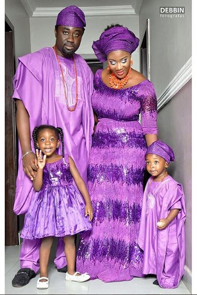 Mercy Johnson And Her Family In Traditional Purple African