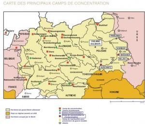 cartes des principaux camps de concentration