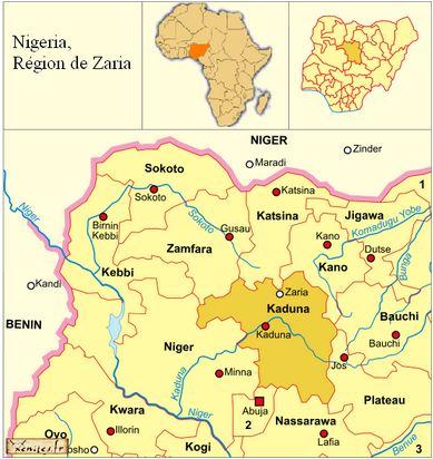 nigéria, carte region de Zaria