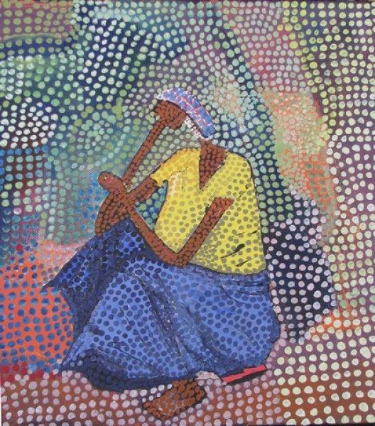 Peintre togolais edmond Yawovi Seddoh - Femme assise - 2011