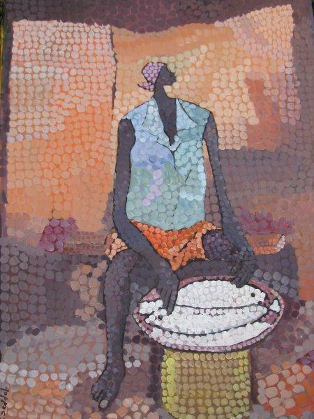 Peintre togolais edmond Yawovi Seddoh - Vendeuse de poissons - 2011