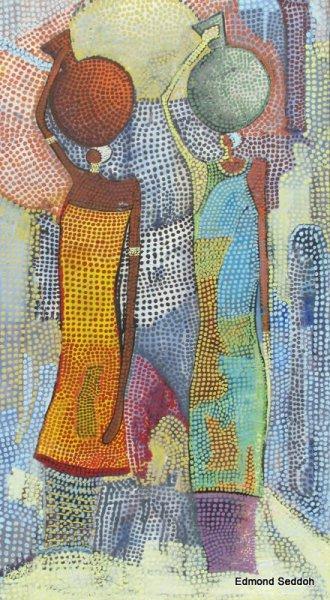 Peintre togolais edmond Yawovi Seddoh - deux porteuses d'eau - 2011