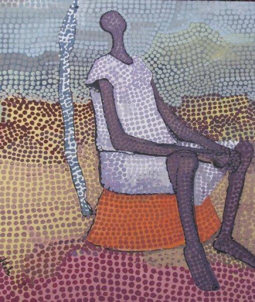 Peintre togolais edmond Yawovi Seddoh - homme assis - 2011