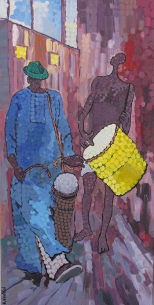 Peintre togolais edmond Yawovi Seddoh - musiciens-de-rue - 2011