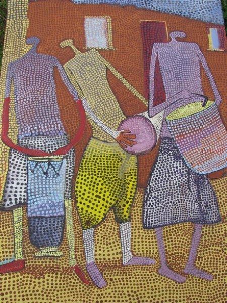 Peintre togolais edmond Yawovi Seddoh - musiciens-pointillistes - 2011