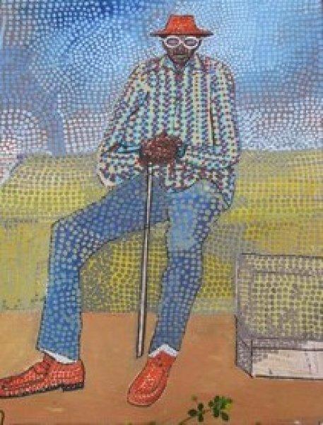 Peintre togolais edmond Yawovi Seddoh - vieil homme - 2011