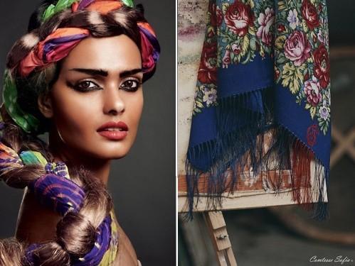 foulard-carre-bleu-fleur-cheveux-tresse-couronne-coiffure-comtesse-sofia-paris-escape-to-montauk