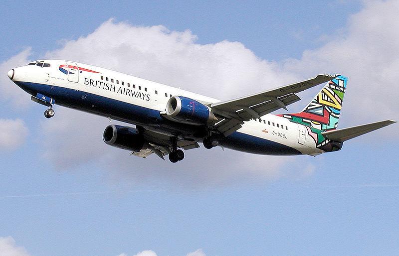 "British Airways tail-colour scheme ""Ndebele"" on a Boeing 737-400"