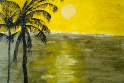 Mandela Diouf - peintre Sénégalais-couché du soleil
