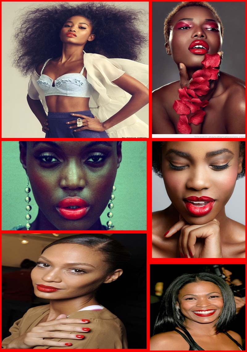 Black skin with red lipstick