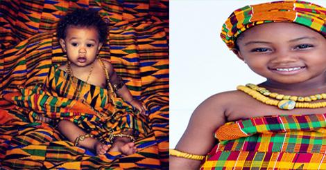 enfants en tenue africaine kente
