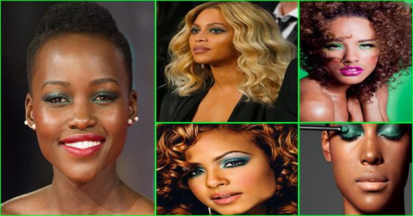 Maquillage vert femme noire et métisse.