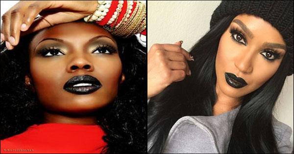 rouge à lèvre noir - peau noire et métisse