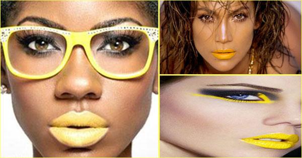 yellow lipstick - rouge à lèvres jaune -