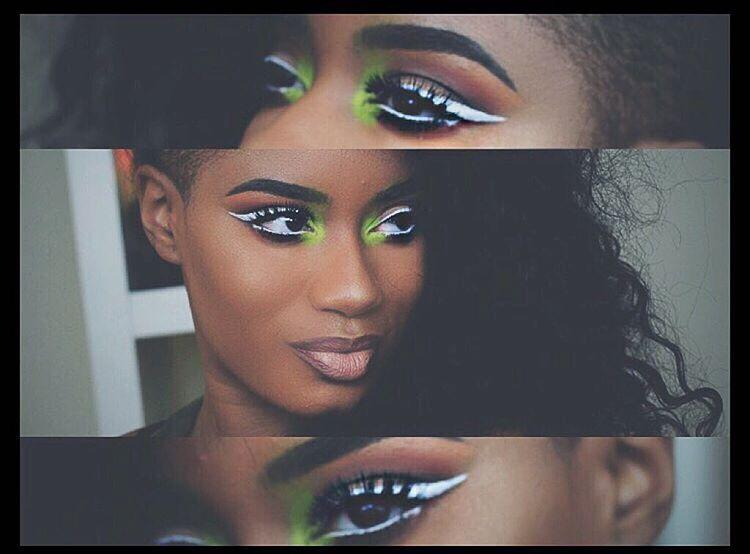 white-eyeliner-with-green-inner-shade-makeup-for-black-women