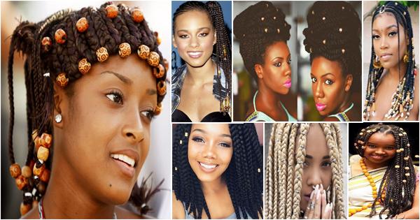 tresses africaines avec perles ou coquillages – afroculture