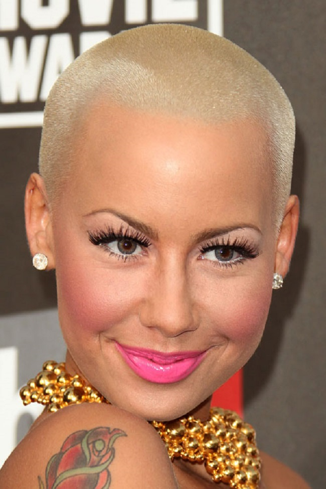 Shaved Head Amber Rose Is Beautiful With Short Haircut Afroculture Net